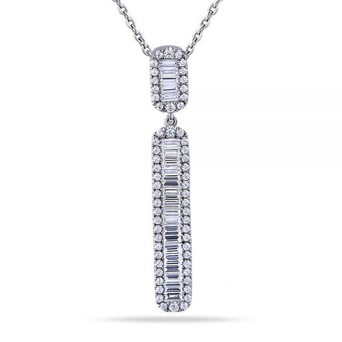 14KT White Gold Art Deco Design Long Pendant