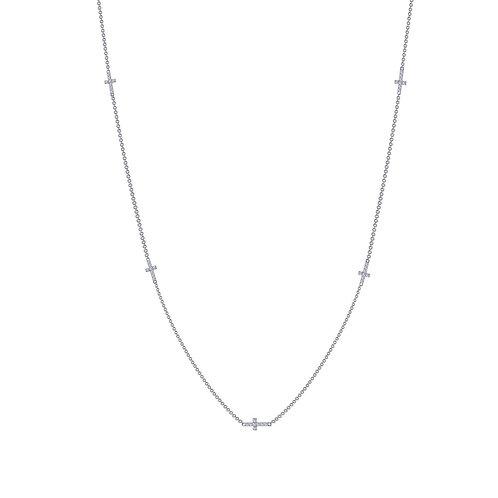 Cross Station Necklace Lassaire Simulated Diamonds