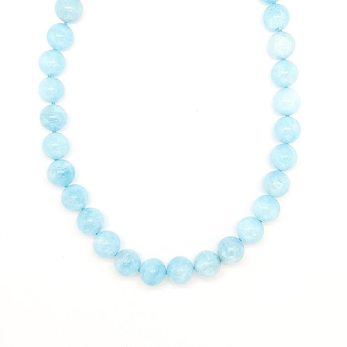 Sterling Silver Aquamarine Bead Necklace 17.5""