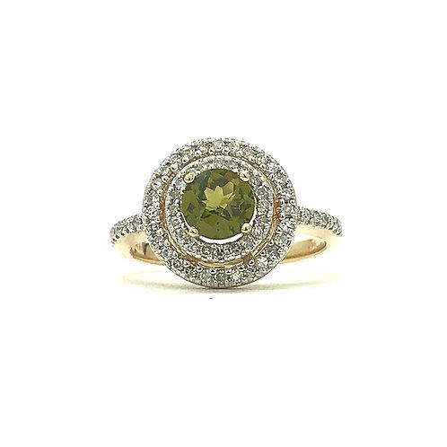 14KT Yellow Gold Peridot and Diamond Ring