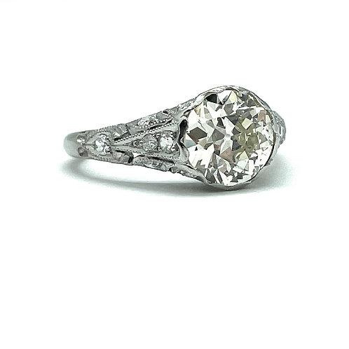 2.35ctw Antique Platinum Engagement Ring
