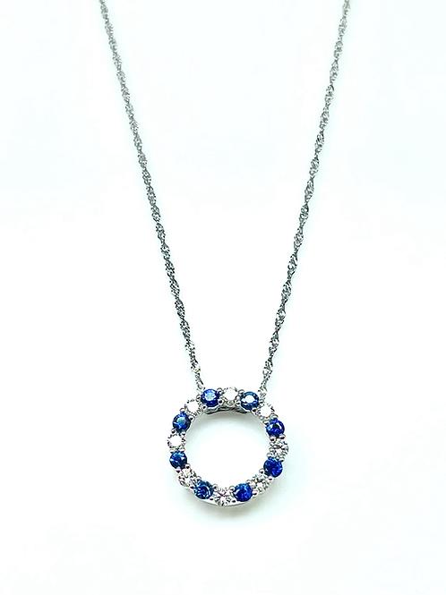 14kw .65ctw Sapphire And Diamond Circle Pendant