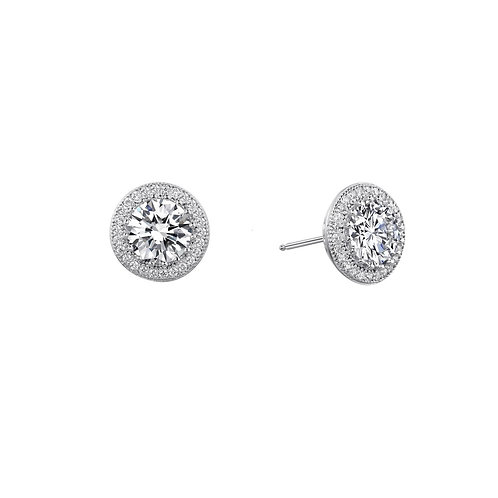 Timeless Halo Stud Earrings Lassaire Simulated Diamonds