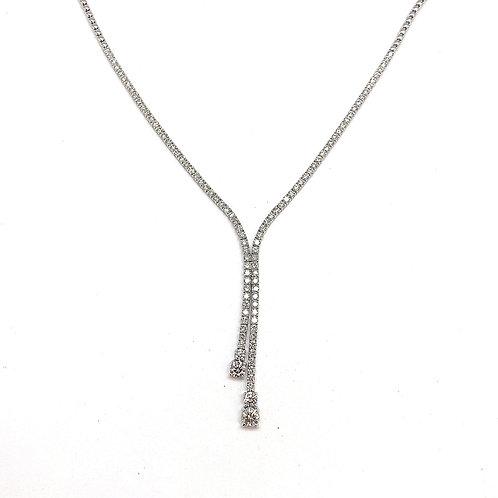 14KT White Gold Diamond Lariat Style Necklace