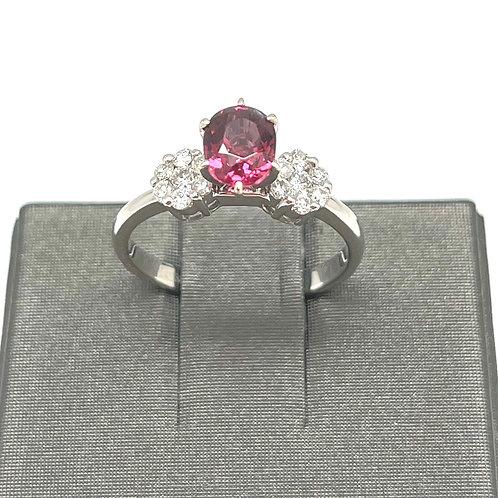 14k Rhodolite And Diamond Ring