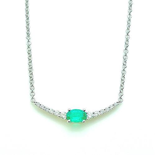 18kw .64ctw Emerald And Diamond Necklace