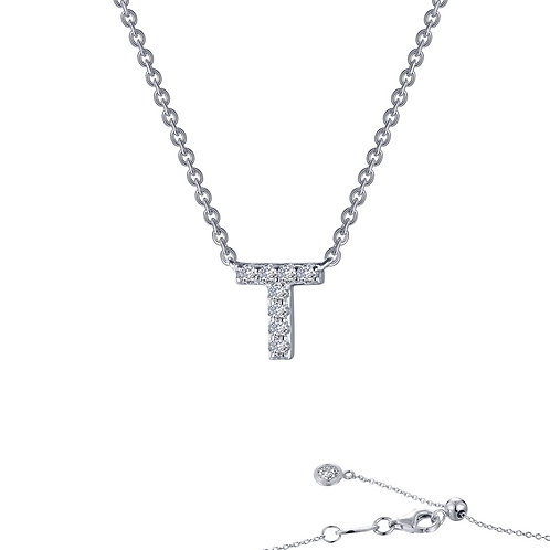 "Dainty Designer Block ""T"" Necklace Lassaire Simulated Diamonds"