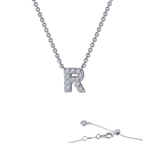 "Dainty Designer Block ""R"" Necklace Lassaire Simulated Diamonds"