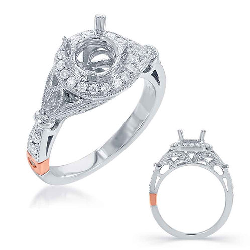 White Gold Halo Engagement Mounting