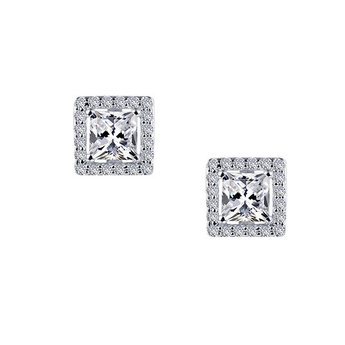Princess Cut Halo Stud Earrings Lassaire Simulated Diamonds