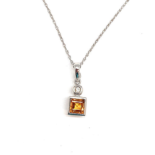 14KT White Gold Diamond and Citrine Pendant