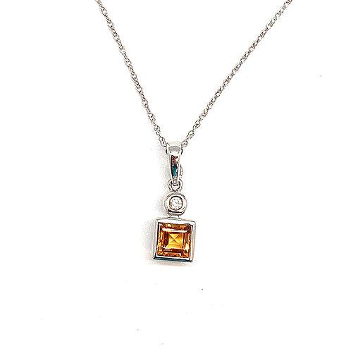 14KT White Gold Diamond and Citrine Pendant