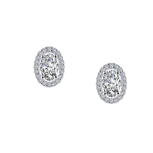 Oval Halo Stud Earrings Lassaire Simulated Diamonds