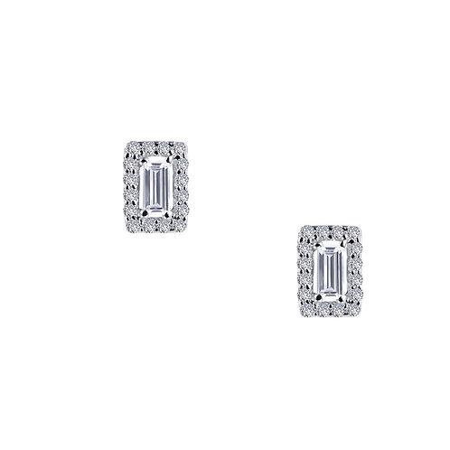 Baguette Halo Stud Earrings Lassaire Simulated Diamonds