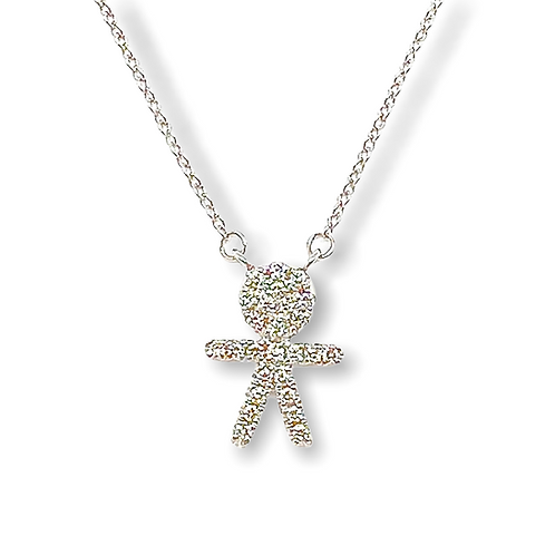14k White Gold Diamond Child Pendant