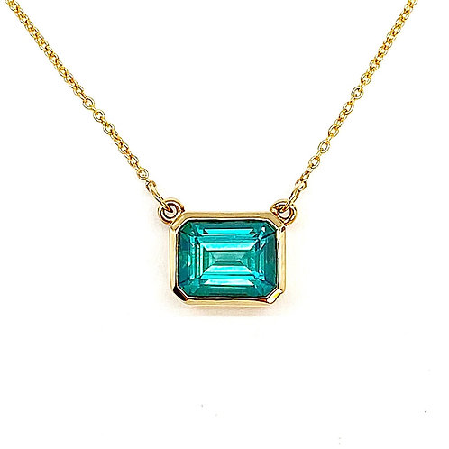 14KT Yellow Gold Indicolite Tourmaline Necklace