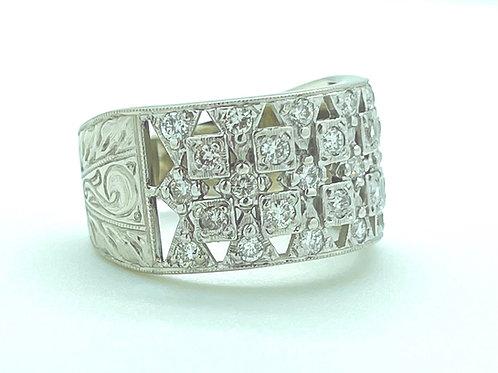 .84ctw 14k White Gold Engraved Diamond Band