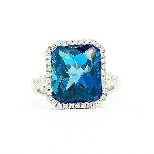 14KT White Gold London Blue Topaz and Diamond Ring