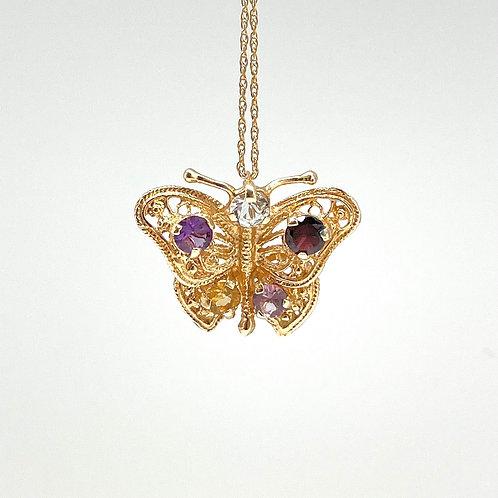 14k Multi-stone Butterfly Pendant