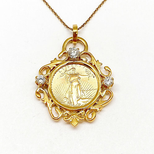 14KT Yellow Gold Diamond and 1/10oz Liberty Coin Pendant