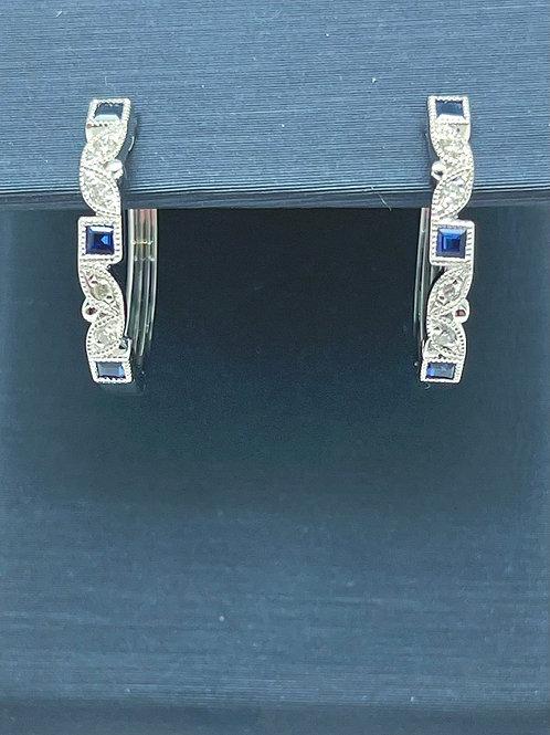 14kw .39ctw Sapphire and Diamond Hoop Earrings