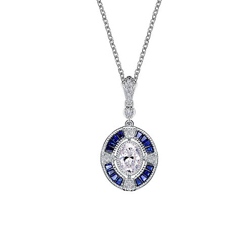 Art Deco Inspired Lab Grown Sapphire and Lassaire Simulated Diamond Pendant