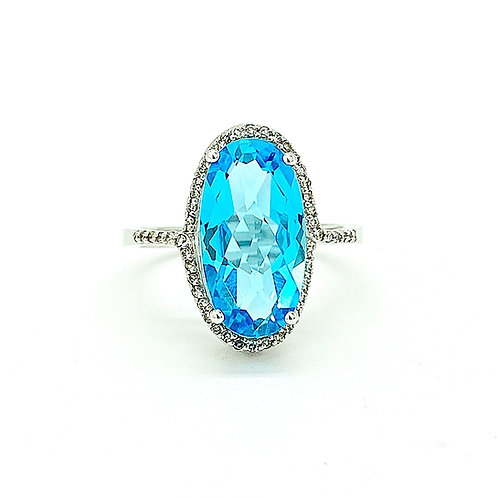 14KT White Gold BlueTopaz and Diamond Ring
