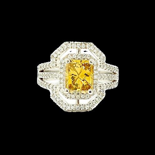 2.00 Carat Fancy Yellow Radiant Cut 14k White Gold Diamond Ring