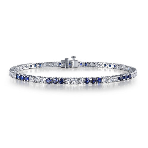 Lab Grown Sapphire and Lassaire Simulated Diamond Tennis Bracelet