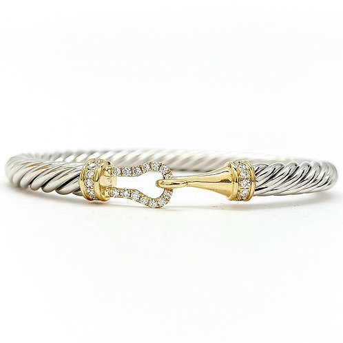 14KT Yellow and White Gold Diamond Cable Bangle