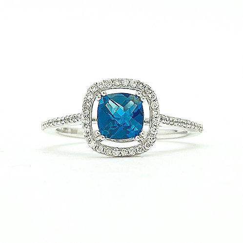 14KT White Gold London Blue Topaz and Diamond Ring