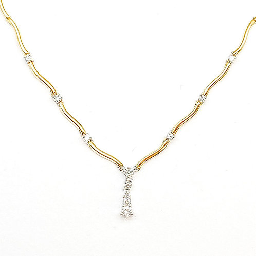 14KT Yellow Gold Diamond Necklace 16""