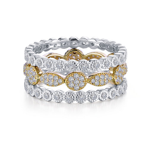 Two-tone Three Piece Stackable Ring Set Lassaire Simulated Diamonds