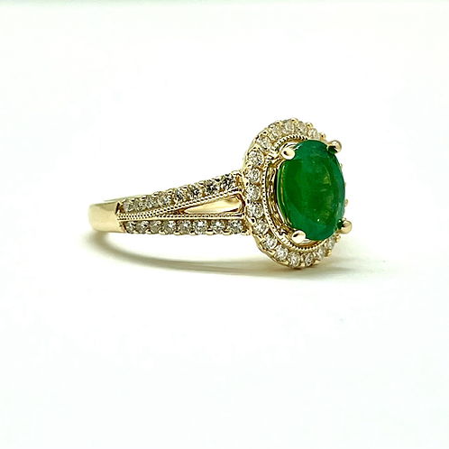 14ky 1.50ctw Emerald And Diamond Ring