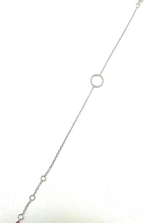 14k White Gold Geometric Diamond Bracelet