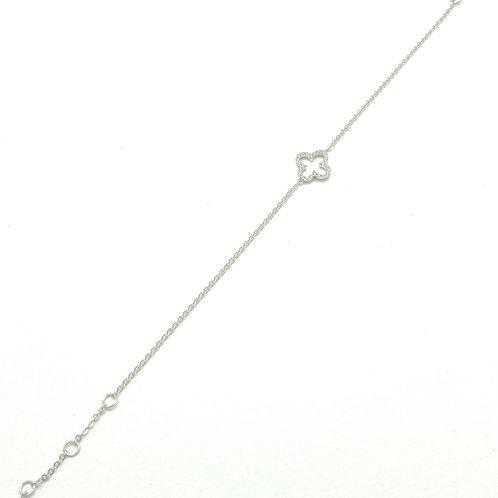 14k White Gold Quadrafoil Diamond bracelet