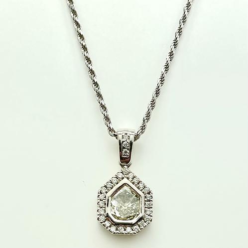 .75ctw 14k White Gold Shield Cut Diamond Pendant
