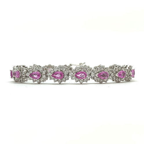 14KT White Gold Pink Sapphire and Diamond Bracelet