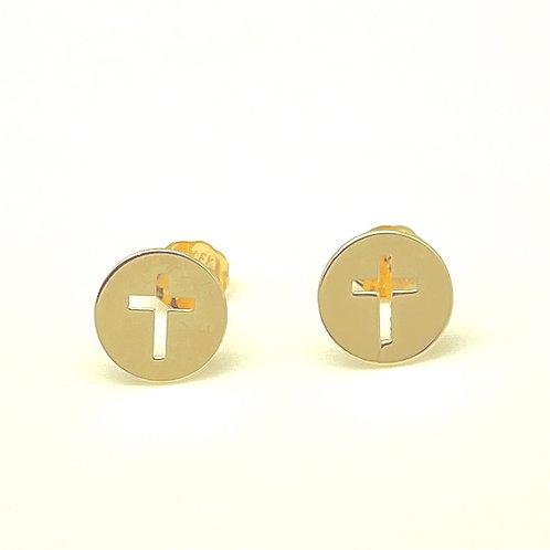 14k cross earrings