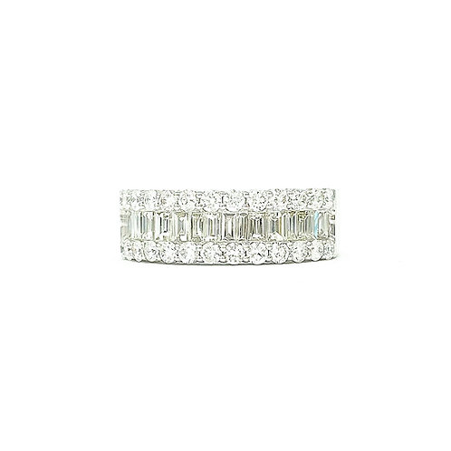 14KT White Gold Baguette and Round Diamond Band