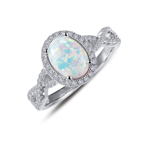Simulated Opal Halo Ring Lassaire Simulated Diamonds