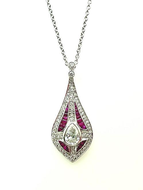 1.25ctw Platinum Ruby And Diamond Necklace
