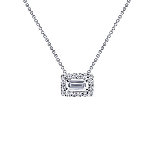 Baguette Solitaire Halo Pendant Lassaire Simulated Diamonds