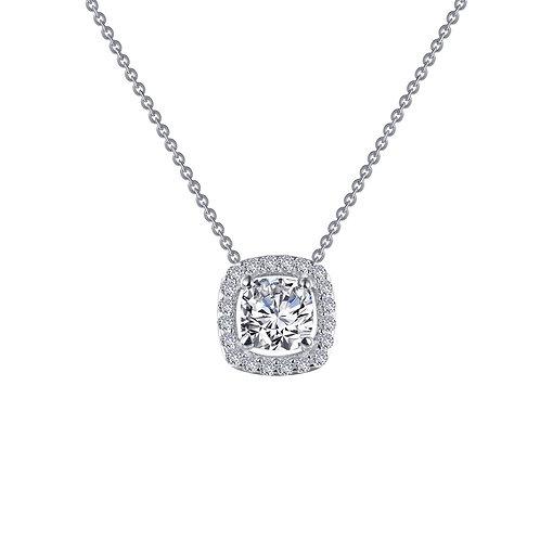 Cushion Cut Solitaire Halo Pendant Lassaire Simulated Diamonds