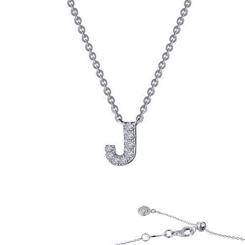 "Dainty Designer Block ""J"" Necklace Lassaire Simulated Diamonds"