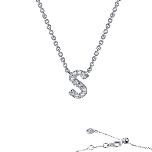 "Dainty Designer Block ""S"" Necklace Lassaire Simulated Diamonds"
