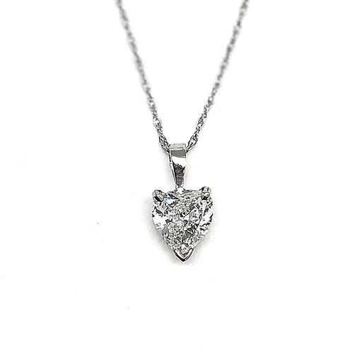 14KT White Gold .69ct Heart Shape Diamond Pendant