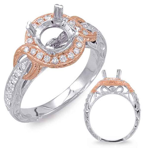 14kt Rose and White Gold Engagement Semi-Mounting