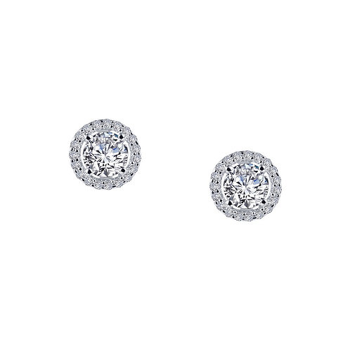 Round Halo Stud Earrings Lassaire Simulated Diamonds