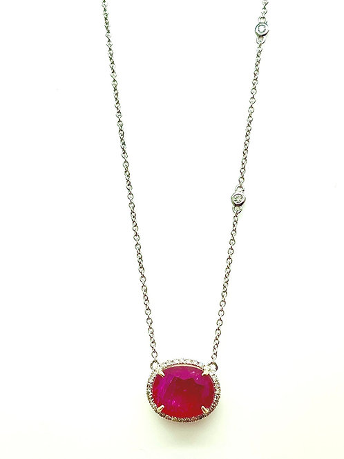 14k Ruby And Diamond Necklace